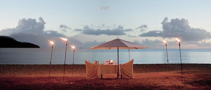 Hermitage Bay includes private romantic beach side dinners