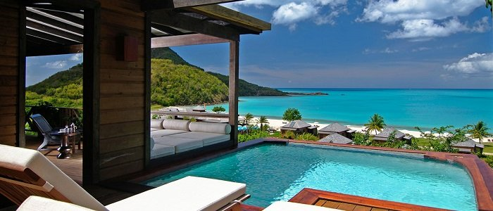 Hermitage Bay includes hilltop suites with private pools