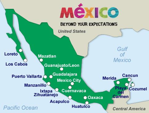 mexico map, adult only all inclusive