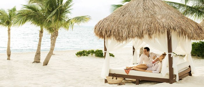 Excellence Playa Mujeres includes bali beach beds and white sand beaches