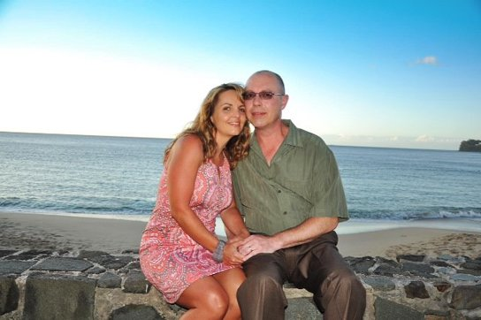 Another happy honeymoon couple at Sandals La Toc