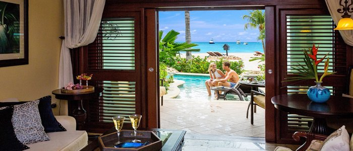 Sandals Negril offers beachfront swim out lagoon suites