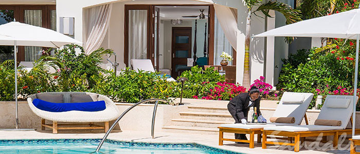 South Seas Honeymoon Poolside Hideaway Walkout Junior Suite with Patio Tranquility Soaking Tub - WJS