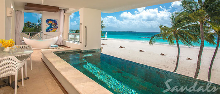Beachfront One Bedroom Skypool Butler Suite w/ Balcony Tranquility Soaking Tub - BSKY