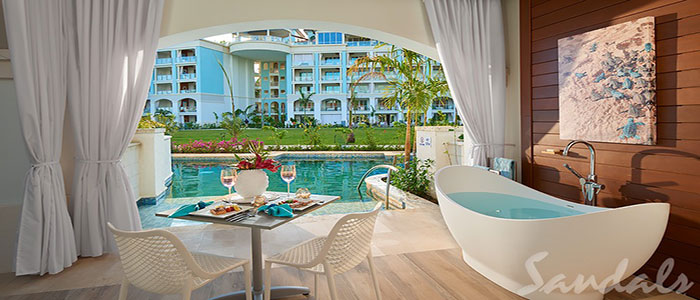 Royal Seaside Swim-up Club Level Ultra Suite w/ Patio Tranquility Soaking Tub - SUP