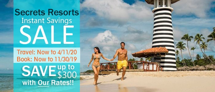 Secrets Resorts Instant Savings and Early Booking Bonus