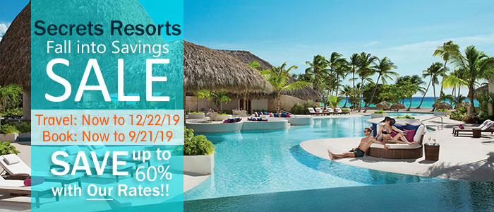 Secrets Resorts SALE - book by 9/21