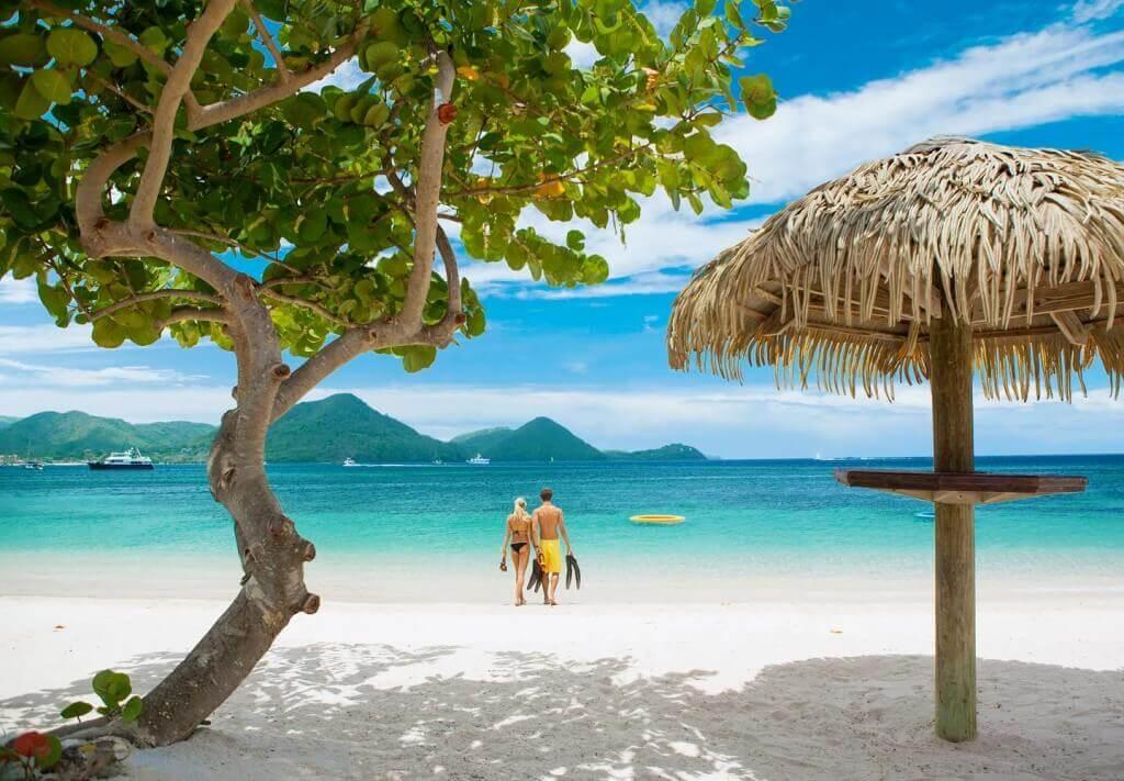 beach at sandals grande st lucian